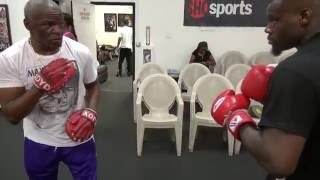Download Floyd Mayweather Sr. padwork with unbeaten TMT star Andrew Tabiti Video