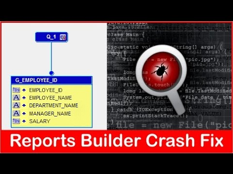 Oracle Reports Builder 11gR2 and 12C 64-bit crash when viewing Data Model