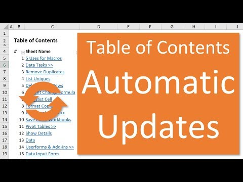 Excel Table of Contents That Automatically Updates