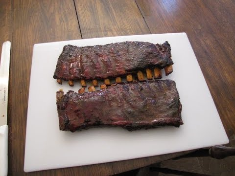 Famous Dave's St. Louis style ribs on The  22 inch Weber kettle Grill