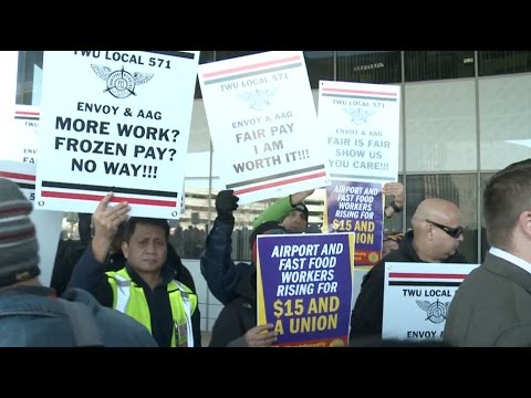 Chicago O'Hare Airport Workers Strike for Higher Wages