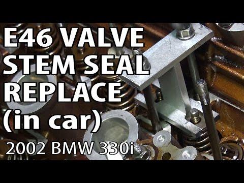 BMW E46 Replace Valve Stem Seals (head in car) #m54rebuild 10