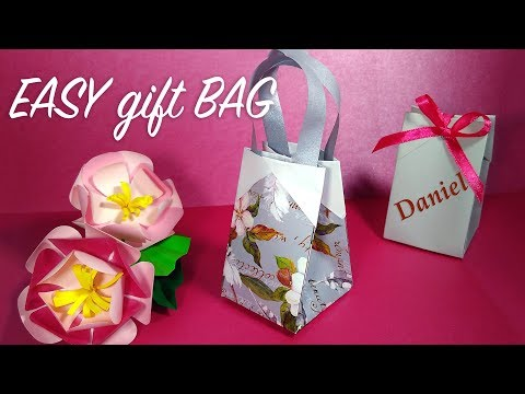 How to make gift bag in 2 MINUTES from wrapping paper ANY SIZE. Origami gift bag.
