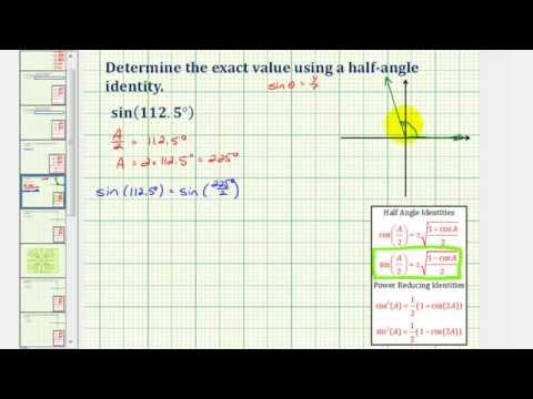 Ex:  Determine a Sine Function Value Using a Half Angle Identity (Degrees)