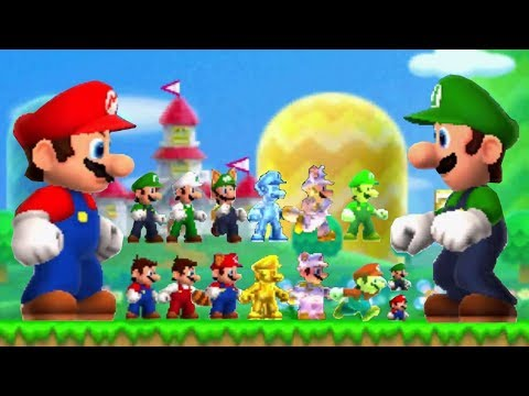 New Super Mario Bros 2 - All Power-Ups (Mario and Luigi)