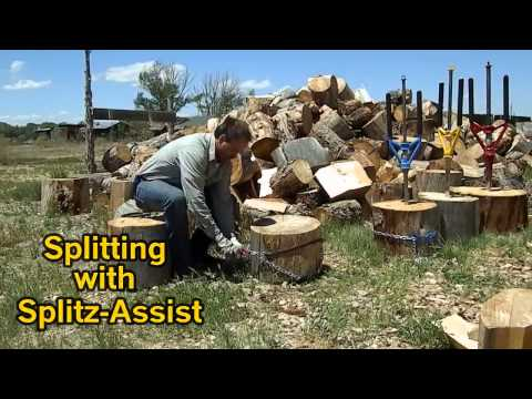 Splitting  any sort of wood with SPLITZ-ALL Good-N-Useful : safe firewood log splitter made in USA