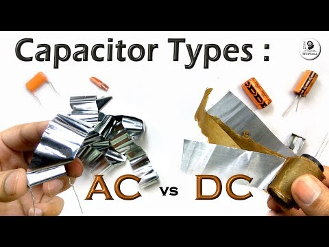 AC and DC Capacitor Types with electrolytic, tantalum, plastic film & ceramic capacitors