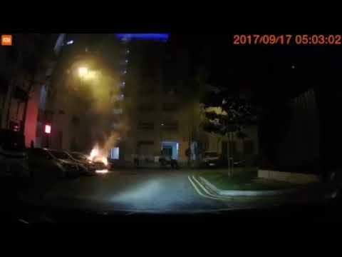 Burning car in HDB carpark