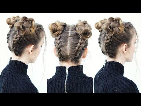 Upside Down Braid Into Braided Space Buns | Braided Hairstyles | Braidsandstyles12
