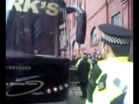 rangers team bus arrives at ibrox for war against celtic