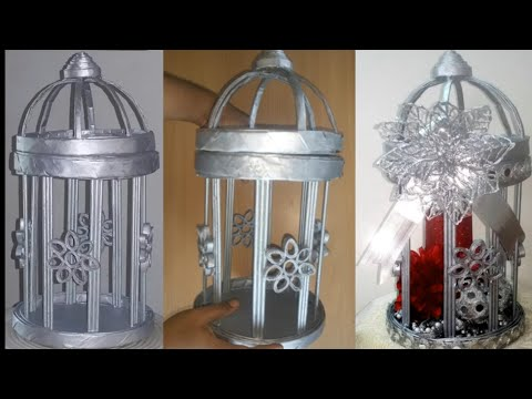 HOW TO MAKE  VINTAGE STYLE BIRD CAGE USING NEWS PAPERS/DIY CHRISTMAS CRAFTS