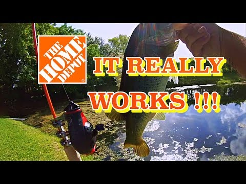 DIY Fishing Rod and Reel!! $25 Home Depot Challenge!!!
