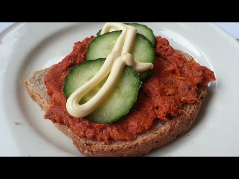 Sliced Bread with Mackerel in Tomato Sauce, Cucumbers and Mayonnaise