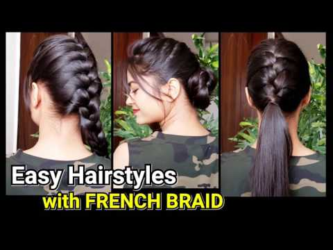 Everyday Quick Easy Hairstyles with FRENCH BRAID//Hairstyles for medium to long hair//Bun/Ponytail