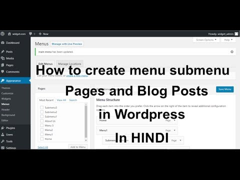How to create menu, submenu, Page and Blog Post in Wordpress(Hindi).