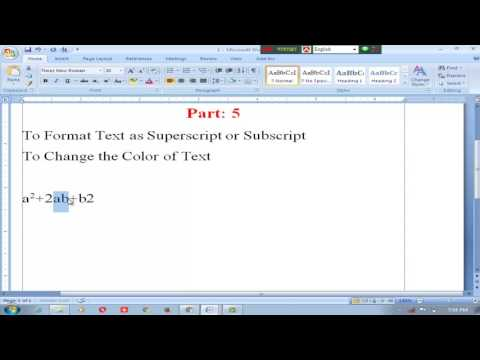 Microsoft Word (Software) | To Format Text as Superscript or Subscript | Change the Color of Text