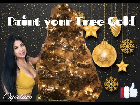 How To Paint Your Christmas Tree Gold DIY