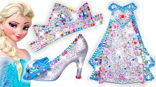 ✨ Play Doh Making Colorful Sparkle 💖 Disney Princess Frozen Elsa Dress High Heels Crown Castle Toys
