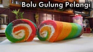Bolu Gulung Pelangi - Resep Bolu Gulung Pelangi (Rainbow Roll Cake)