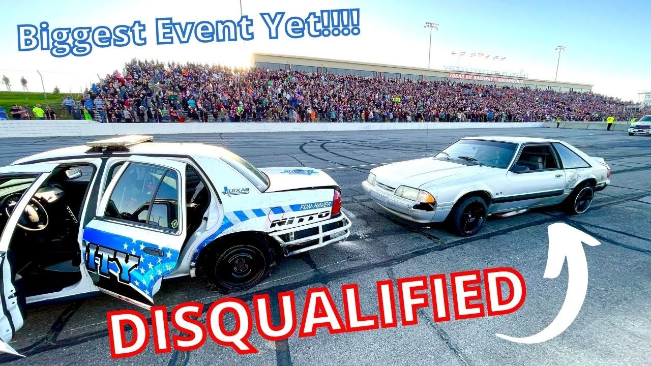 I Blew Both Tires but was DISQUALIFIED!? Cleetus & Cars Indy Burnout Rivals Foxbody Put on a Show!
