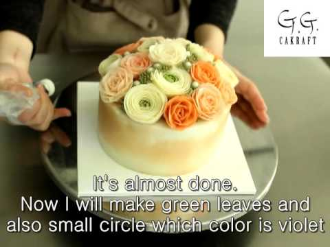 Hot to make flower cake with butter cream (full process 2 ) #7