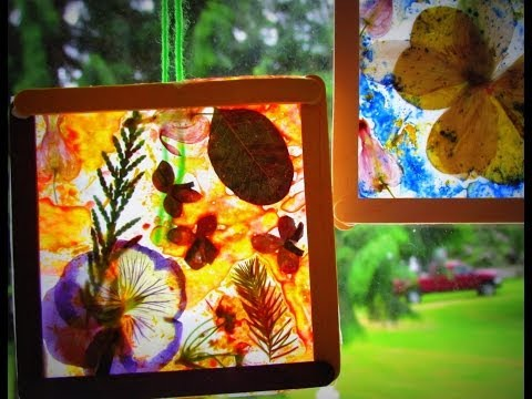 DIY Stained Glass Craft Dried Flowers Leaves Crayon Shavings DIY Suncatcher
