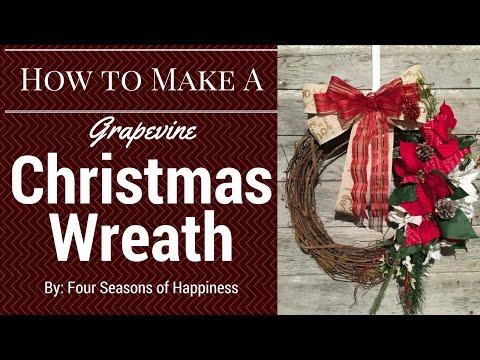 Christmas Grapevine wreath, simple Grapevine wreath, Grapevine Wreath Tutorial, Christmas Wreath