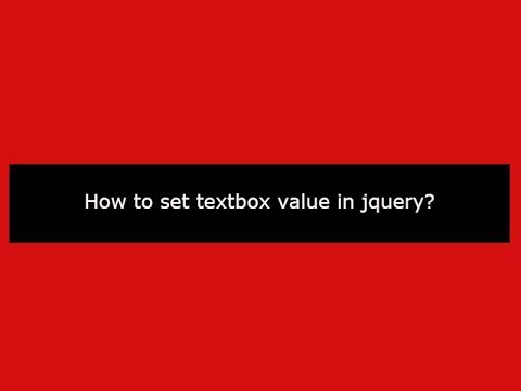 How to set textbox value in jquery?