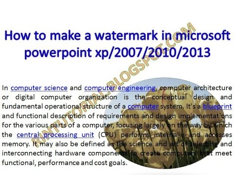 how to make a watermark in microsoft powerpoint xp/2007/2010/2013 in bangla video tutorial
