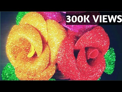 VERY LOW COST EASY  FOAM SHEET ROSE/HOW TO MAKE EASY ROSE WITH FOAM SHEET/GLITTER ROSE/DIY ROSES /