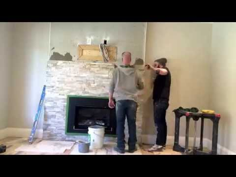 Rosa Brothers Tiling: Time lapse installation of ledge stone on a fireplace.