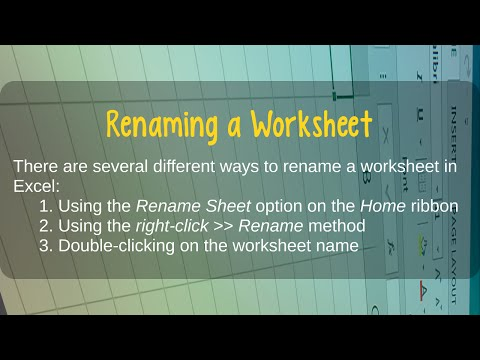 How to Rename a Worksheet in Microsoft Excel