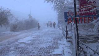 Outside, when the -48 degrees.  Yakutsk. 06/02/2014 当街道霜冻-48度