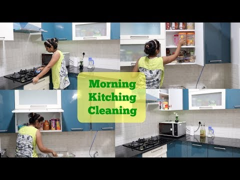 Indian Morning kitchen Cleaning Routine 2017 || Morning kitchen Deep Cleaning