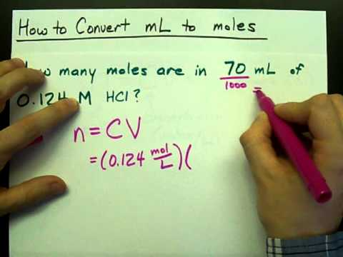 How to Convert mL to moles (Volume to Moles) (Concentration)