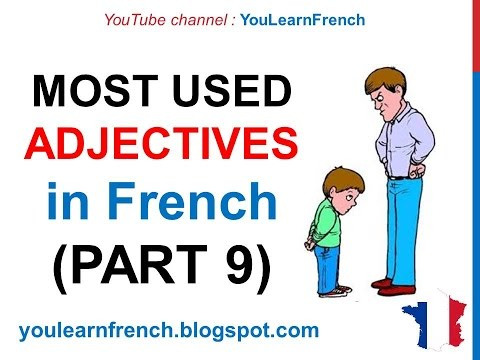 French Lesson 249 - 100 Most common ADJECTIVES in French PART 9 Most used qualifying adjectives