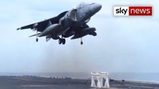 US Navy Harrier Jet Lands On Stool