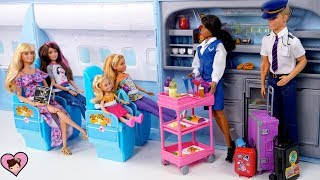 Barbie &  Sisters Airplane Travel Adventure -  Barbie Doll Holiday  Family Vacation Movie