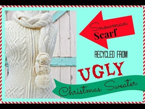how to recycle a Sweater into a scarf, reconstructed into a braided Snowman Scarf