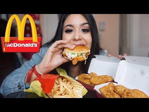 MCDONALD'S 20 PC CHICKEN NUGGETS+McCHICKEN+LARGE FRIES MUKBANG! SRIRACHA MAC SAUCE / EATING SHOW
