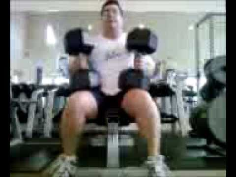 100 lbs. dumbbell press x 15 reps