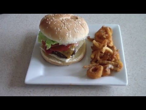 Air Fryer Cheeseburgers with Air fried Curly Fries Cook's Essentials burgers burger recipe