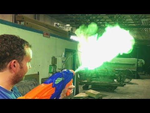DIY Super Soaker Flamethrower Green Flame vs 60,000 PSI Waterjet