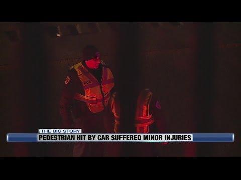 Pedestrian hit by car suffered minor injuries