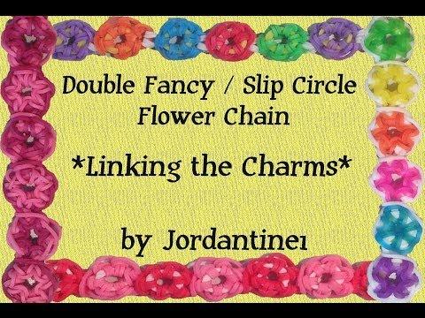 Double Fancy / Slip Circle Flower Charm Chain Bracelet / Necklace - Rainbow Loom