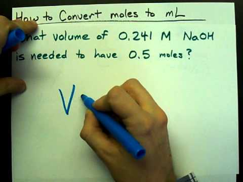 How to convert moles to volume (mL) (with concentration)