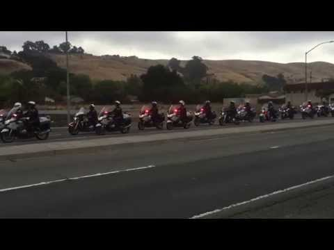 Sgt. Lunger motorcade on way to Oracle Arena. Thank you for your service and dedication.