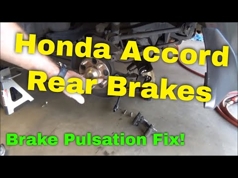 Honda Rear Brake Pad and Rotor Replacement 2004 Accord (Brake Pulsation Fix) Part 2