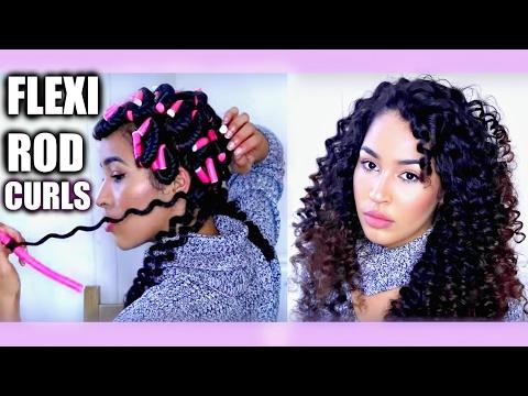 Heatless Curly Hair Tutorial - FLEXI RODS/ BENDY ROLLERS on natural hair | Heatless Curls