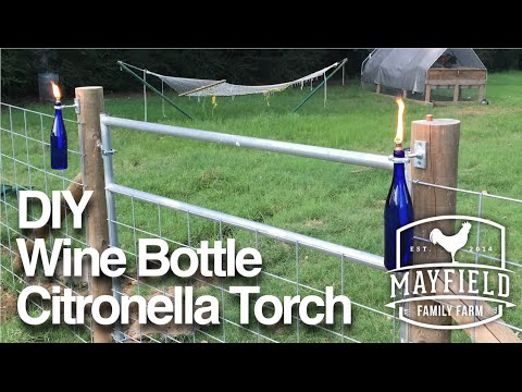 DIY Wine Bottle Citronella Candle - Tiki Torch